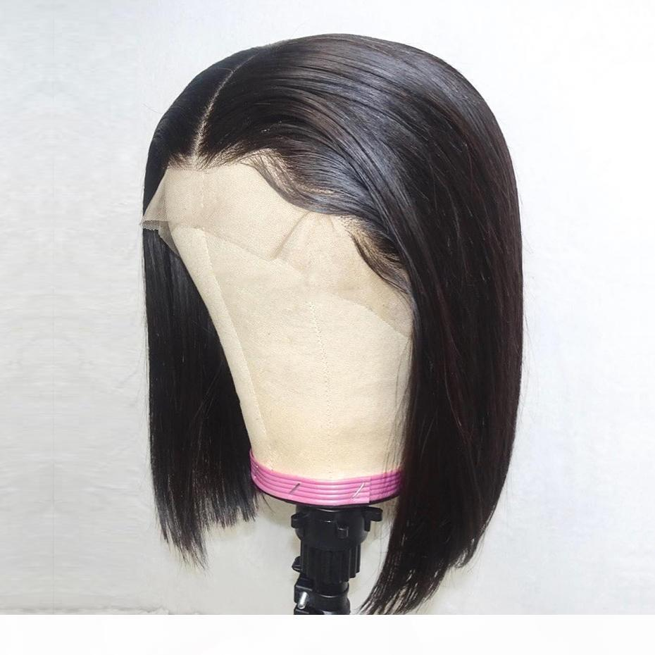 Menschliche Haarperücken Bobs Kurzer Schnitt Stile Glueless Vrggin Remy Front Spitze Kurze Perücken Schwarze Frauen Bob Spitze Perücke mit Babyhaar