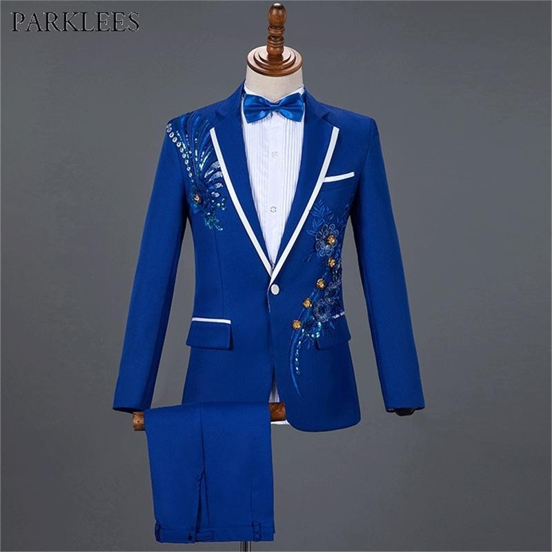 Royal Blue Pailletten Stickereianzug Herren Hochzeit Bräutigam Tuxedo Anzüge Hosen Herren One Button Peak Revers Bühne Kostüm Traje Hombre 2XL Y201026