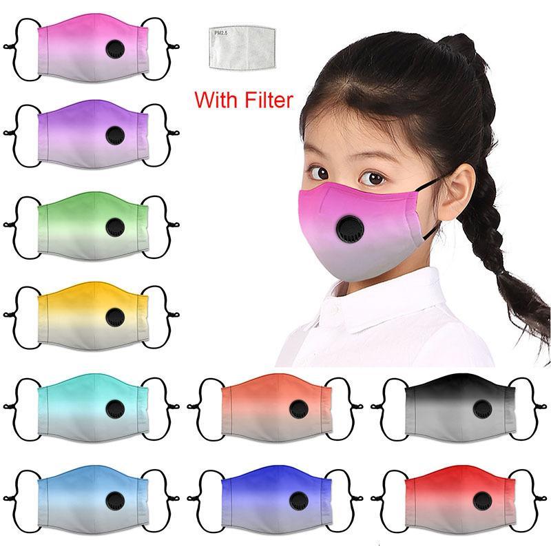 Máscara de la cara de la moda de la moda de la moda anti-haze de algodón anti-neblina máscara infantil con la válvula de respiración Diseñador impreso transpirable Máscara facial