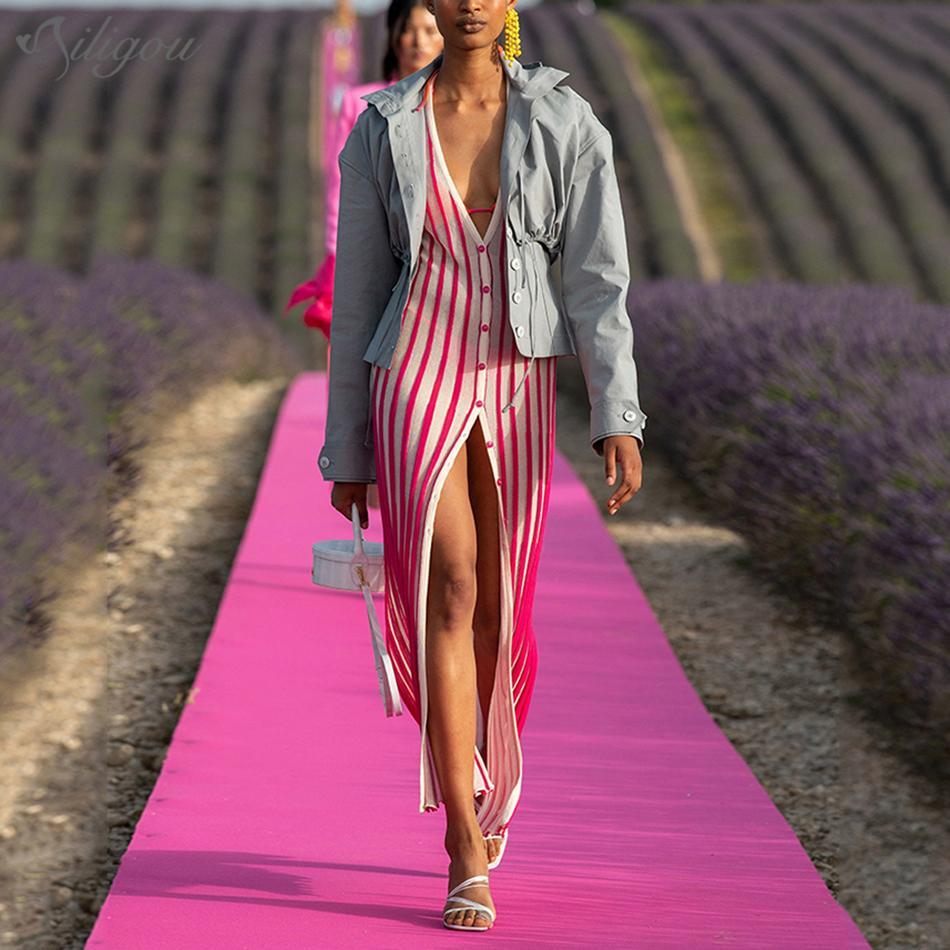 Ailigou 2020 Yaz Yeni Kadın Yüksek Kalite Seksi V-Yaka Düğme Pembe Çizgili Bölünmüş Triko Elbise Şık Kulübü Ziyafet Elbise C1024