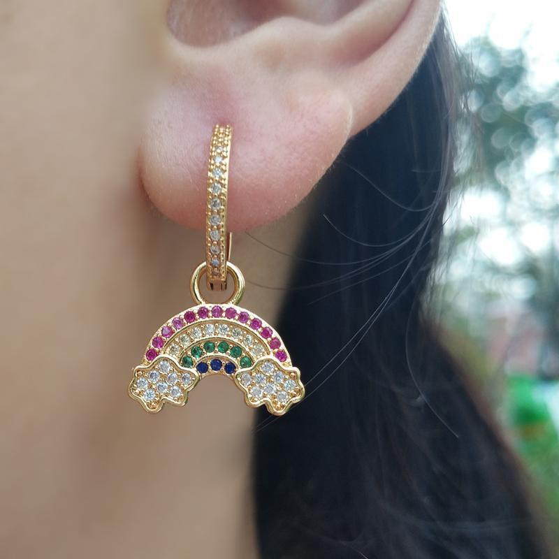 Plaqué Hoop Regenbogen-Ohrring-Ohr-Piercing Huggies Schmuck pendientes dorados pequenos Ohrringe Ringe mit Steinen Bunte