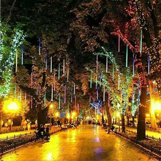 10 Tubos de 30 centímetros 50 centímetros 80 centímetros impermeável Meteor chuveiro de chuva LED corda luzes para férias Outdoor de Natal Decoração da árvore UE / EUA / AU / UK plug