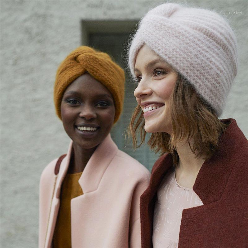 Inverno Donne Berretto Modo MOFHAIR TURBAN HAT TOURINOL Colore croce Avvolgitore Cappello Cappello Donna Signore Lana Maglietta Cap1