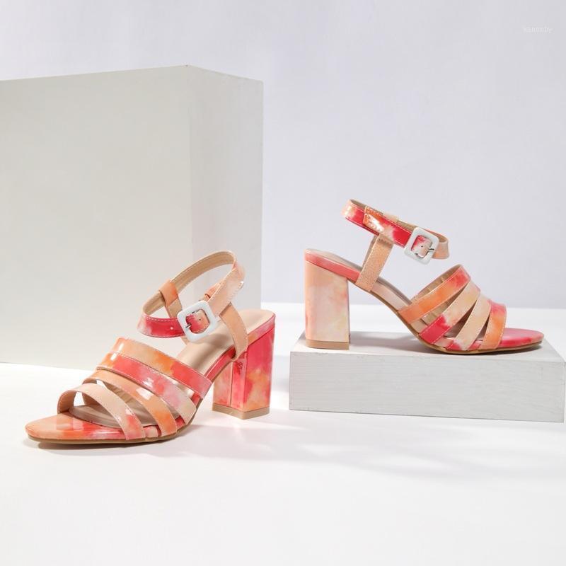 Dyzhy verano Sandalias para mujer Bloqueo de tacones altos Plataforma Color Matching Ladies Zapato Hebilla Strap Sandalias de punta abierta Tamaño grande 421