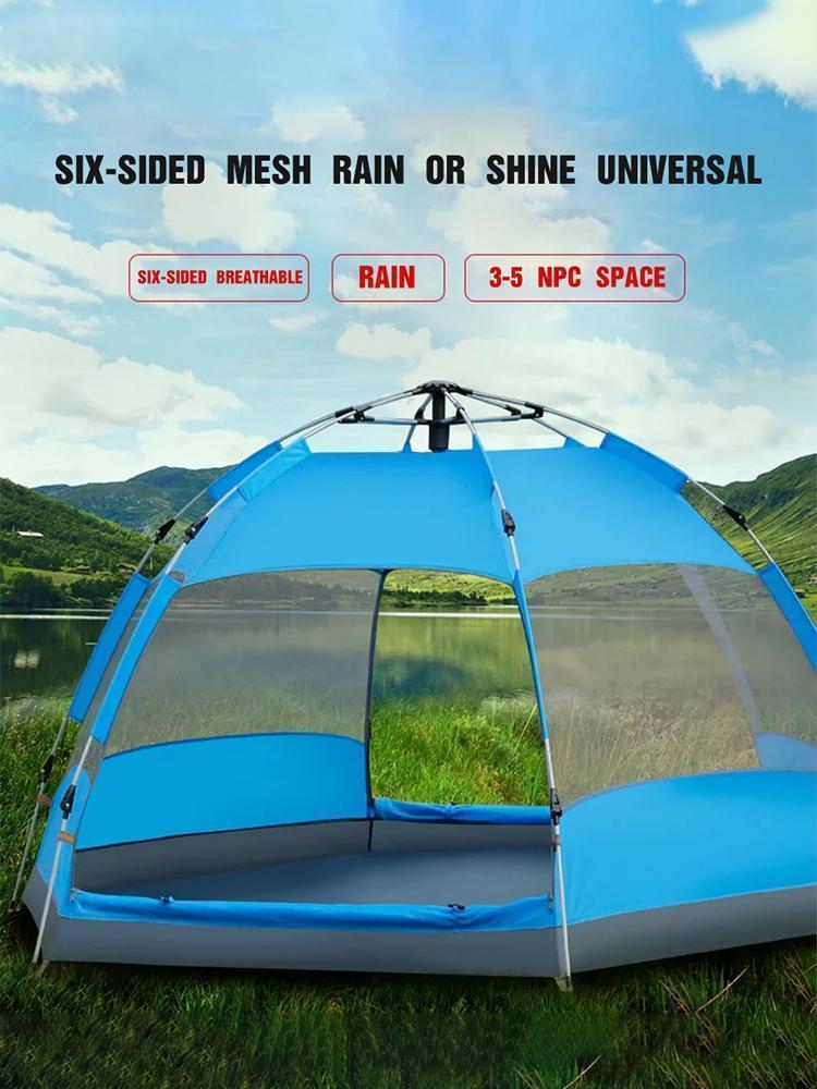 Tenda da campeggio all'aperto tenda manuale escursionismo campeggio tende spiaggia all'aperto protezione della pioggia aperta famiglia grande 3-5 persona1