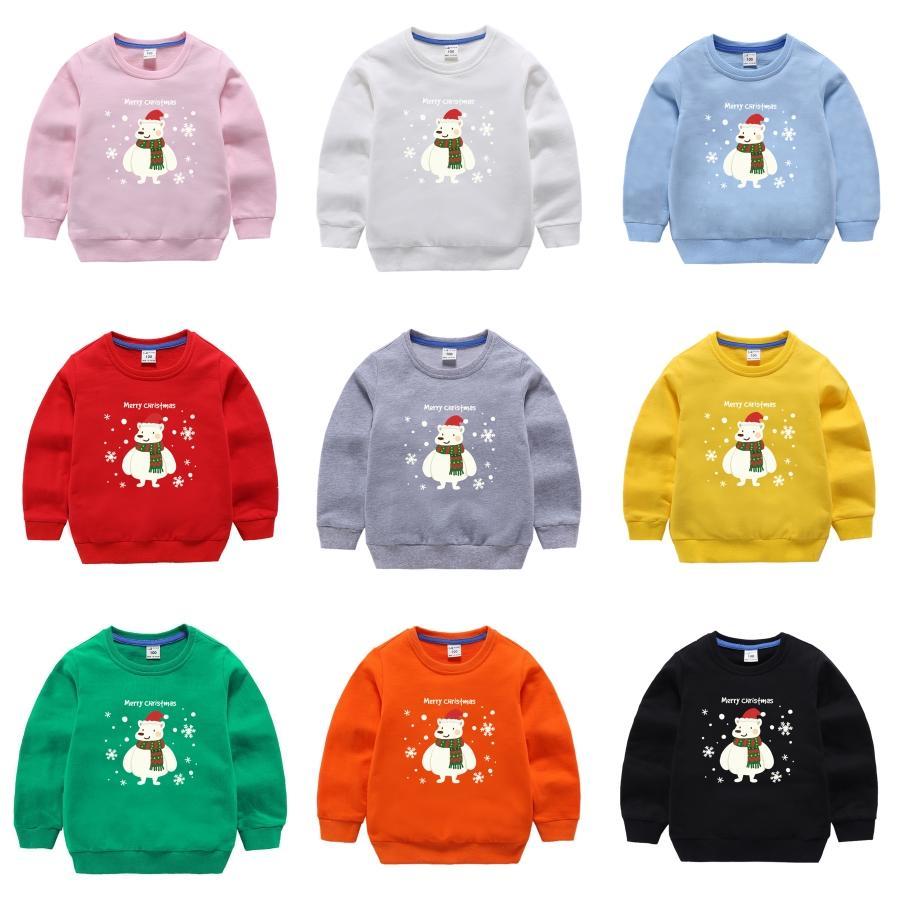PUIchildTIUA 2020 Новый Рождество Стиль Детский Осень Зима пуловер свитер Олени Отпечатано с длинным рукавом сгущает Теплый O-образным вырезом свитера для детей V2 # 399