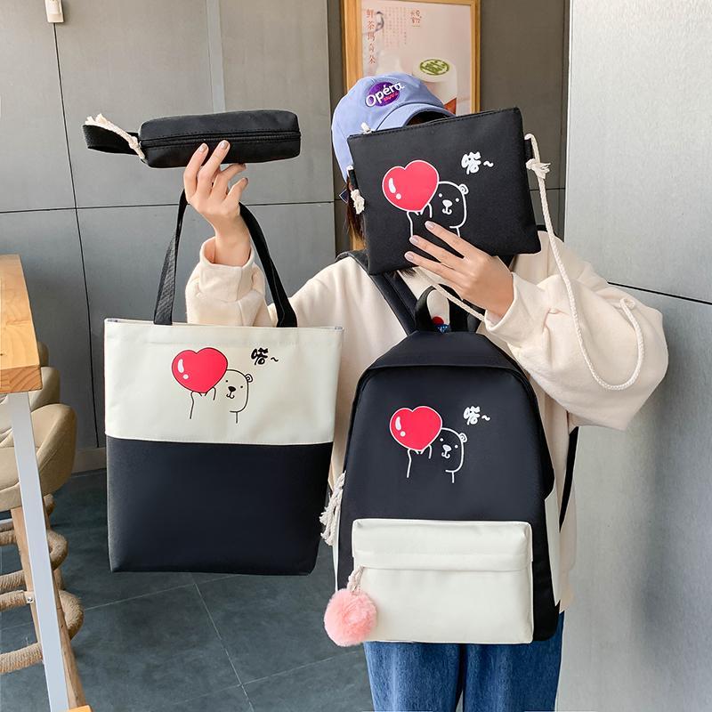 4шт / комплект Детские школьные сумки женщин нейлоновый рюкзак детей Корея сумка милая сумка для девочек Mochila escolar 2020 y200706