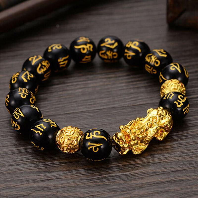 Feng Shui Obsidian Каменные бусины Мужчины Унисекс Браслет Золото Черное Pixiu Богатство и Удачи Женщины Браслет