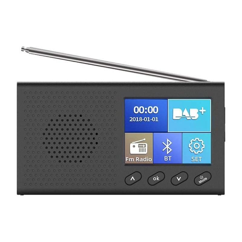 DAB Radio avec écran LCD couleur de 2,4 pouces rechargeable ordinateur portable Digital FM DAB Lecteur MP3 Dumineuse Diffusion