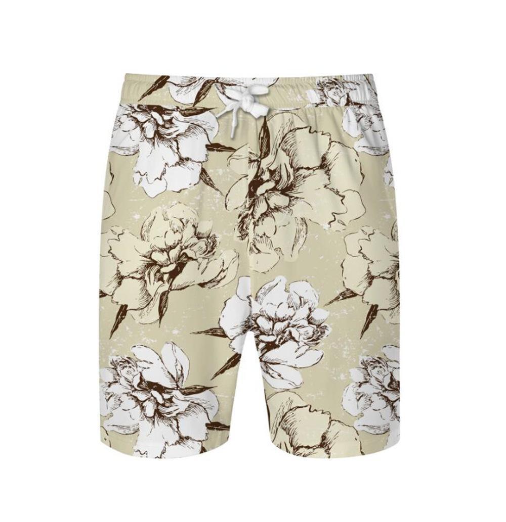 Impresión floral KISSQIQI de los hombres de la cintura elástico de los cortocircuitos ropa de playa de Hawai Casual 1027