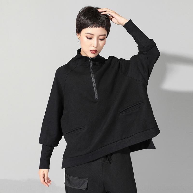 AsIZU Kadın taban soğuk rüzgar 202 moda sonbahar yeni koyu açık kazak En kazak erken tişört üst DrzLg fermuar kişiselleştirilmiş