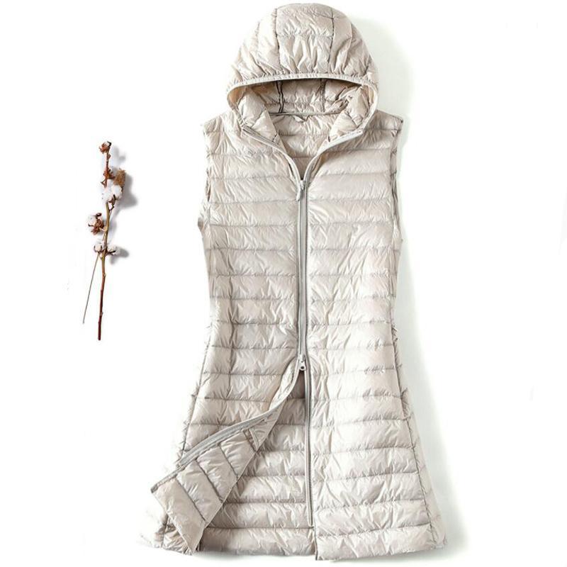 SEDUTMO Kış Artı boyutu 3XL Kadınlar ceket Aşağı Ultra Hafif Uzun Kapşonlu Yelek Casual Yelek Sonbahar Coat İnce Parkas ED913 201016