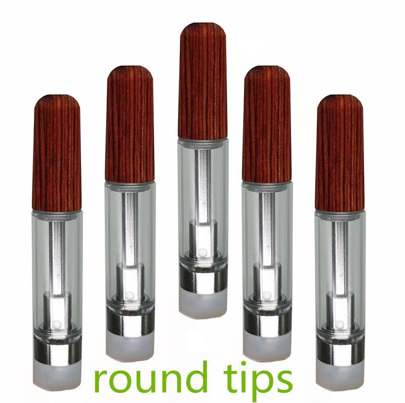 Wood Ceramic Tips Carts 0.8ml 1.0ml Vape Cartridges 510 Thread Ceramic Coil Screw On 2.0mm Empty Thick Oil E-Cigarettes