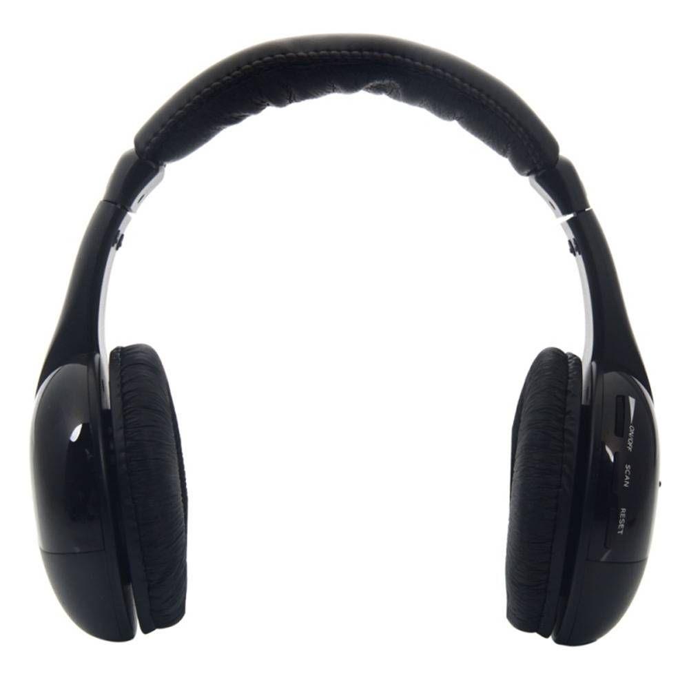 5 in 1 Wireless Headphone Earphone for MP3/MP4 PC TV CD FM Radio Black