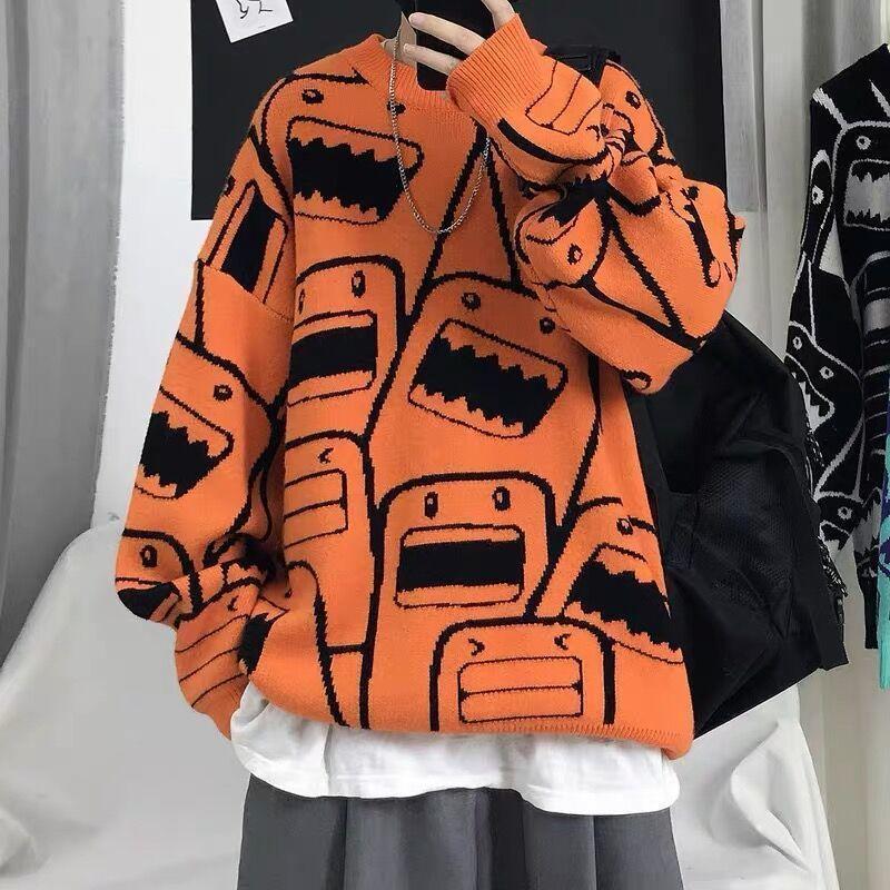 Camisola dos suéter dos homens Tendência solta T-shirt do pescoço de T-shirt de Hong Kong Outono e inverno versátil casaco legal