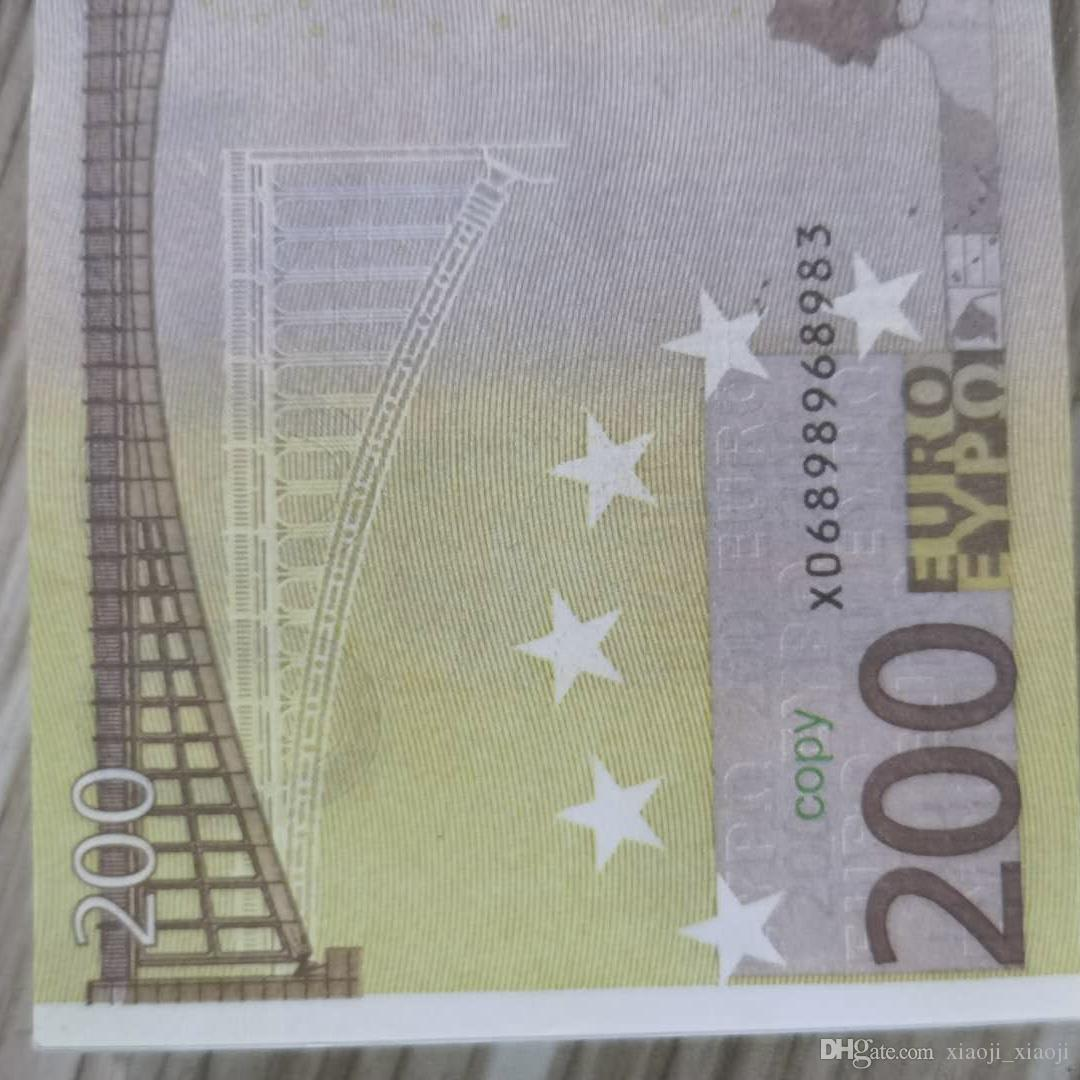 US Euro Family Prop Cart Play Kids 200 Game o 100pcs / pack Toy money copy Banknote realistico QMXTA