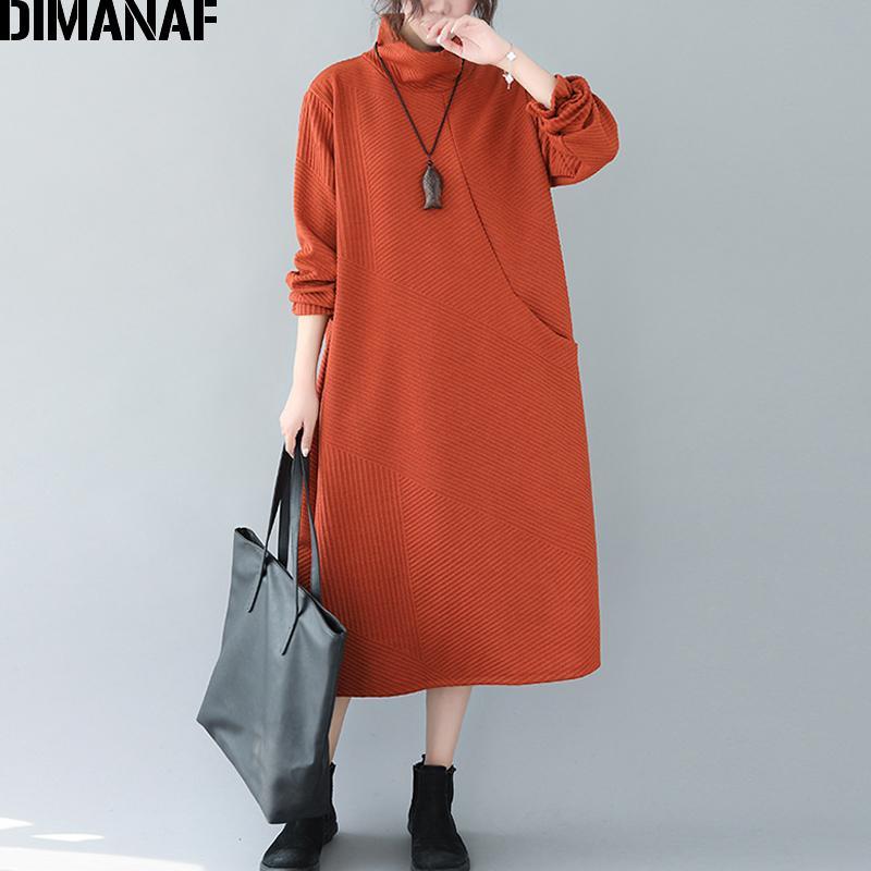 Dimanaf Winter Plus Size Delle Donne Donne AddShen TurtleNeck Lady Vestidos Abbigliamento femminile Abbigliamento casual da tasche a strisce casual