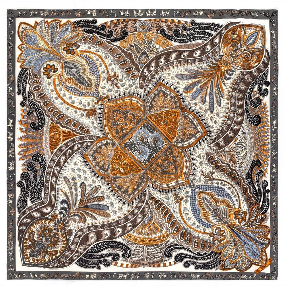 Foulard de soie foulard femmes 90 90 écharpes satins paisley print de tête vintage encolure encadrement foulards châle fant foulard femme