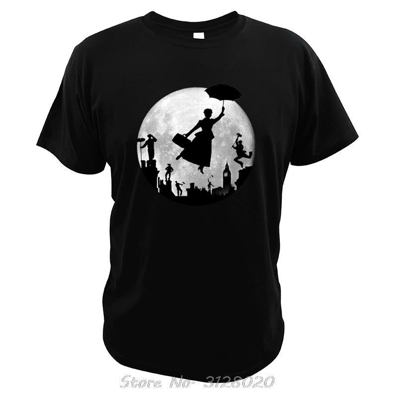 Mary Poppin Full Moon Londres Rooftops Fée venir de haute qualité numérique Imprimer le sport Film T-shirt T-shirts hommes Sweat à capuche Hoodie t-shirt