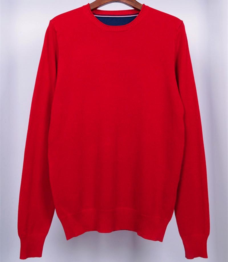 Alta qualità Tommi Primavera Autunno Neck Neck Cotton Jersey Hombre Pullover Homme Maglione invernale Maglione lavorato a maglia