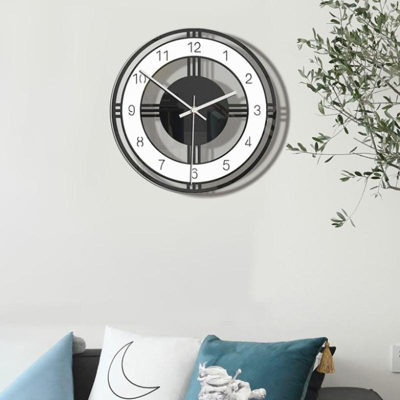 28x28cm Retro simple Mute reloj de pared de la decoración del hogar Wall ornamento colgante de acrílico del reloj digital
