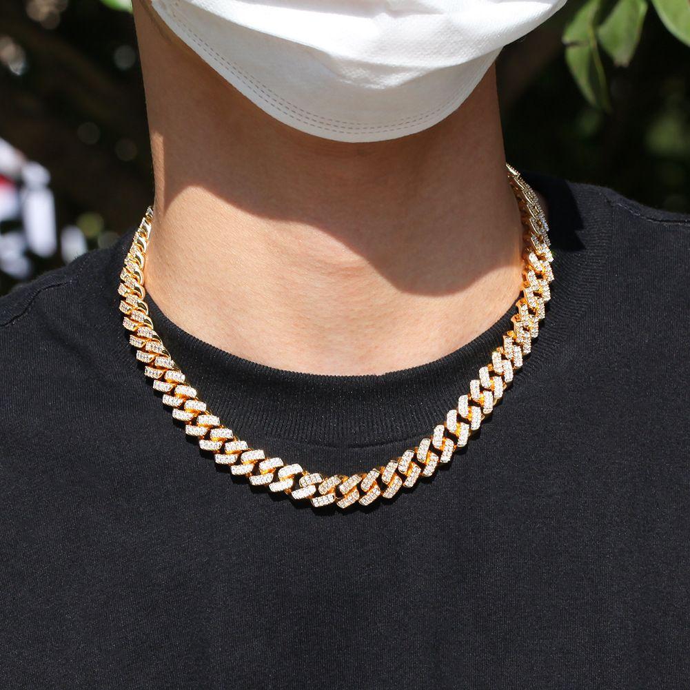 2020 Mens Diamante ghiacciato fuori il campo da catena dei monili di rame della collana del braccialetto Silver Gold Collane a catena 12 millimetri
