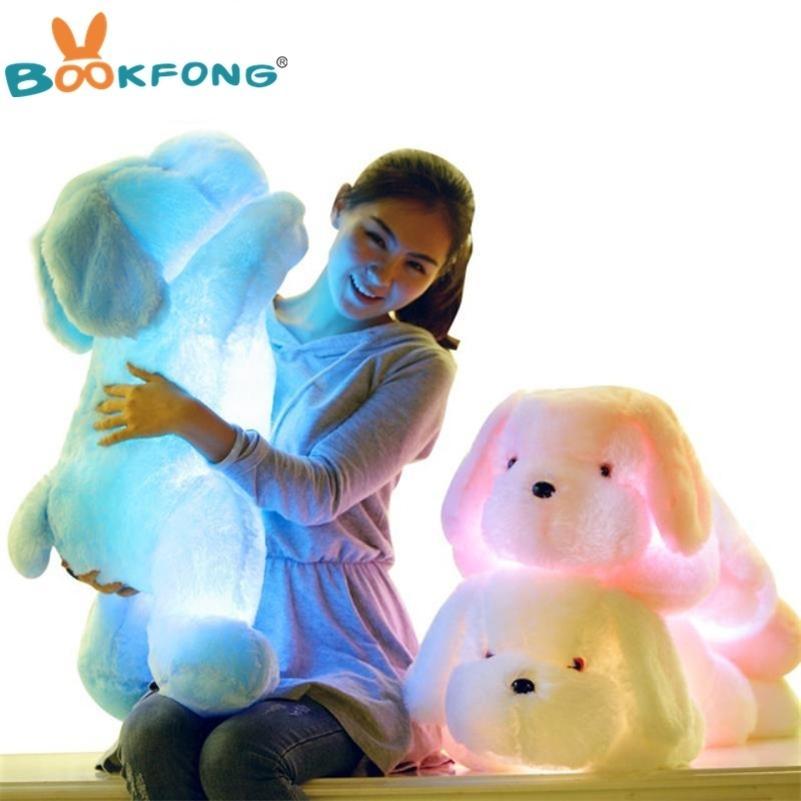 Bookfong 50cm comprimento criativo noite luz levou adorável cão recheado e pelúcia brinquedos melhores presentes para crianças e amigos 201215