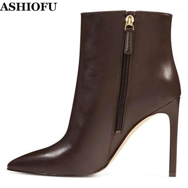 ASHIOFU New Hot Sale Handmade Ladies High Heel Boots Simple Style Party Prom Ankle Booties Big Size Evening Club Fashion Boots1