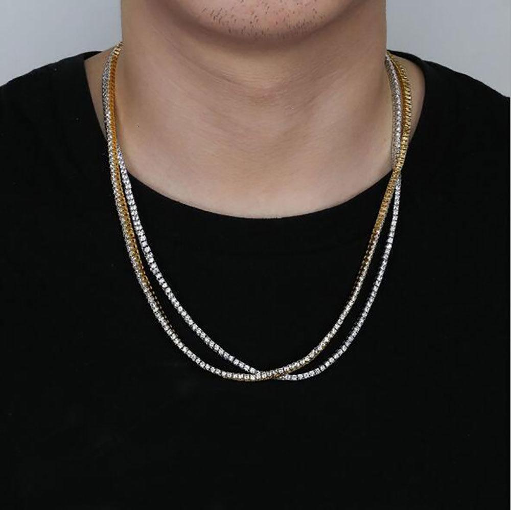 CZ 1 ряд Медный бедер Micro Hop Pave Cubic Zircon Теннисное ожерелье 3 мм 18 дюймов 20 дюймов 22 дюйма 24 дюйма Золотая серебряная цепь ожерелье