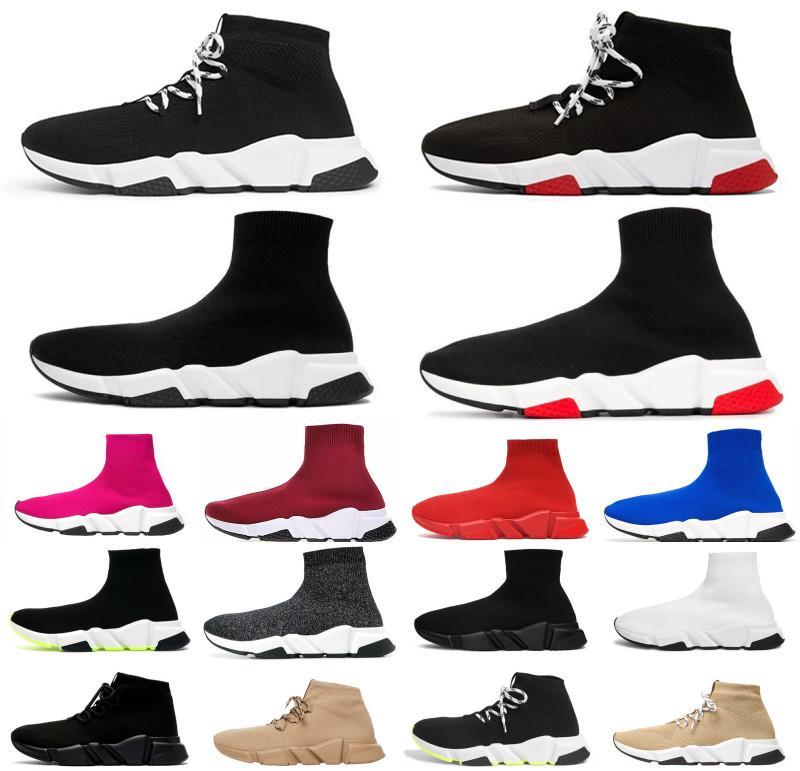 2021 Neue Herren Womens Sneakers Mode Qualität Strick Socken Schuhe Geschwindigkeit Hohe Rennläufer Schwarz Weiß Slip-On Triple S Freistehende Schuhe