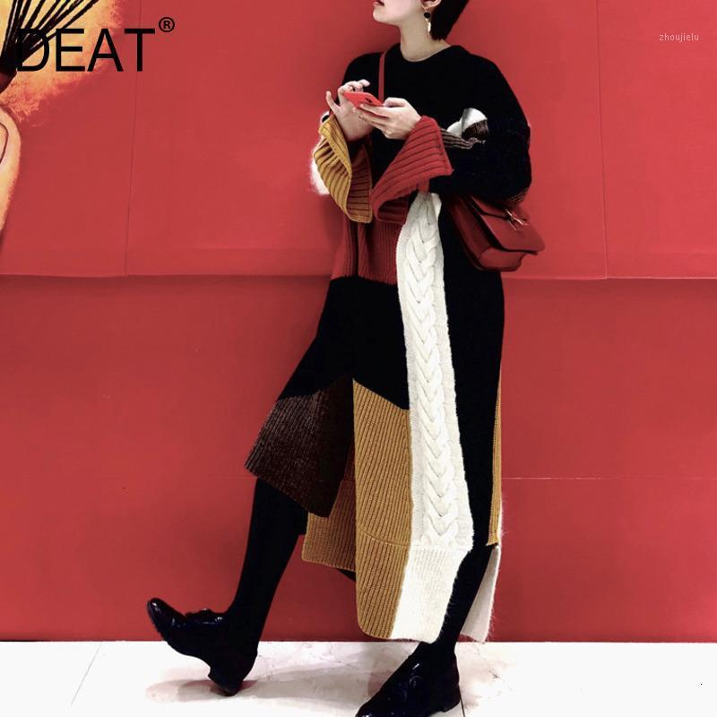 Dreat Loisirs O Cou Patchwork Contraste Couleur Full Manches Ankle Longueur Longueur Robe Femmes Lâche Robe 2020 Auttunmn Winter Nouveau TD6141