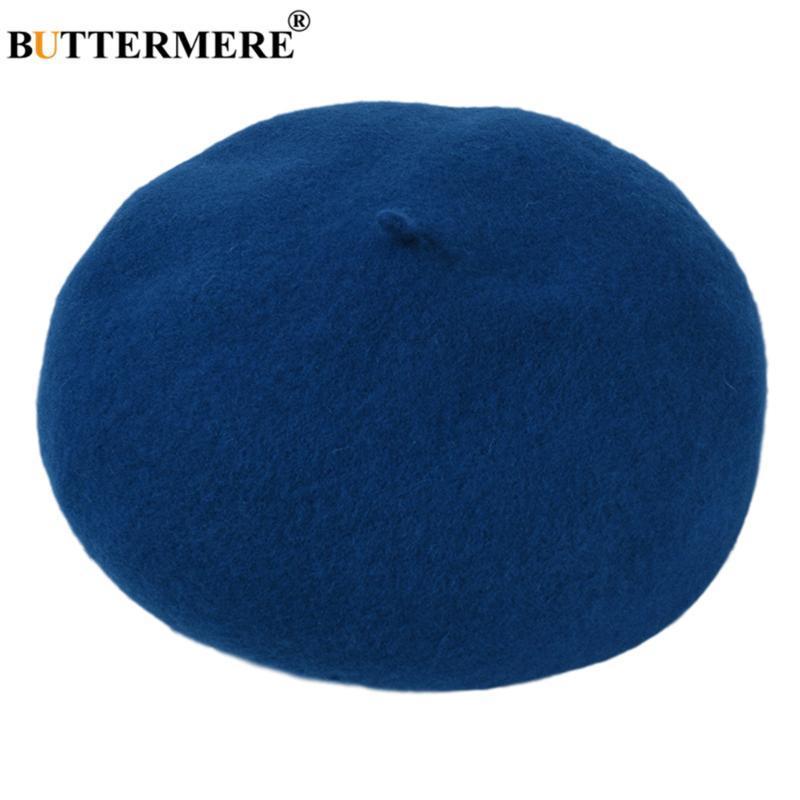 BUTTERMERE Bleu Femmes d'hiver Chapeau Laine Bérets Bonnet Couleurs solides vintge Français Beret Lady Painter Hat