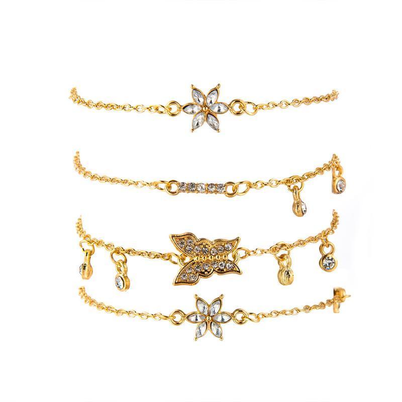 Braccialetti di fascino della catena di cristallo dell'annata dei braccialetti del fascino dei braccialetti dei braccialetti per le donne Braccialetto del braccialetto del fiore della farfalla bohémien