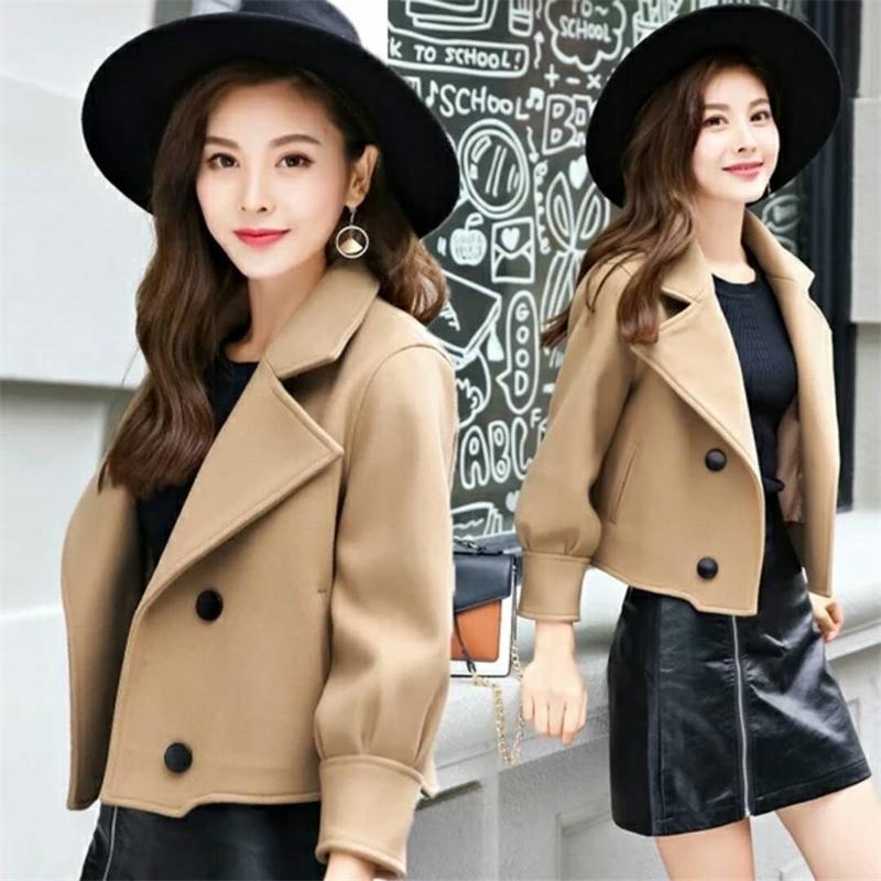 Veste de manteau de laine courte femme LJ201106