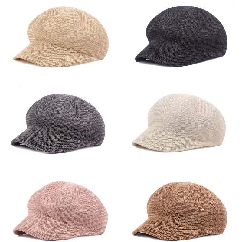 Береты Unisex Sboy Caps Hats Мужчины Женщины Восьмиугольная детектив Ретро Плоская Выладочная сетка Береть Пика Кэпс Дышащая шляпа