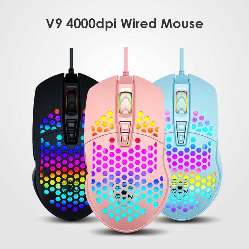 V9 USB Проводная 4000dpi регулируемая подсветка Hollow PC Optical Gaming Mouse Бесшумный Mause с подсветкой для портативных ПК