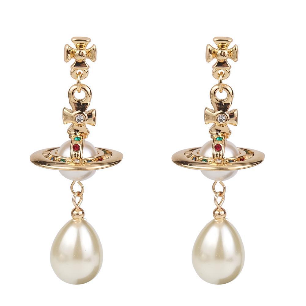 Pendiente oro borla de plata cuelga imitado perla perlas pendientes cruzados saturno cuelga pendientes para las mujeres niñas planeta oreja gotas