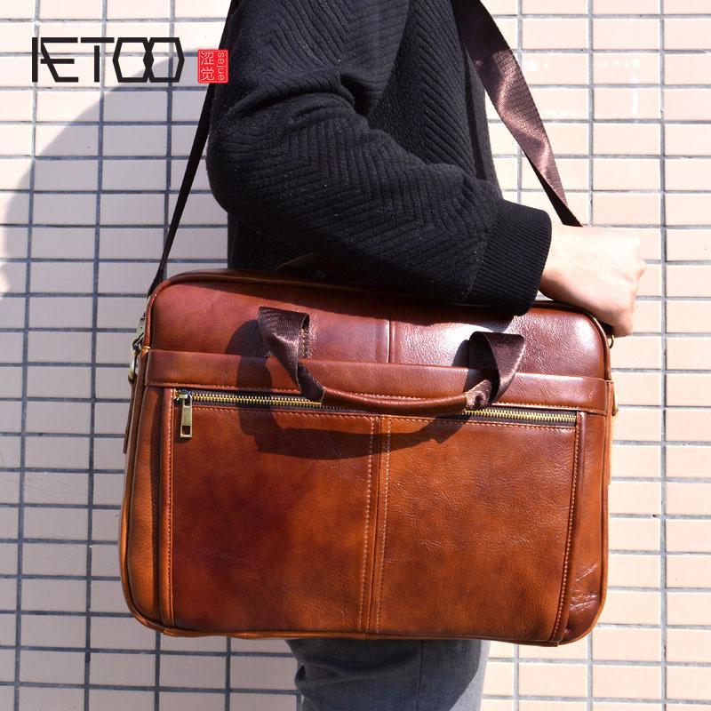 AETOO Genuine Leather Bag Cowhide Men Crossbody Men's Travel Shoulder Bags Tote Laptop Briefcases Handbags brown Q0112