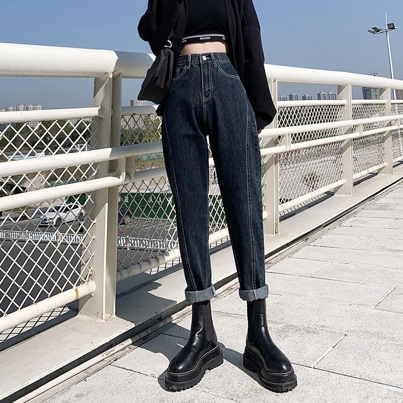 Guuzyuviz Blue Grey Harem Jeans Donna Plus Size Vita alta Pantalones da Pantalones Jeans Mujer Casual Vintage Jeans coreano Denim W0104