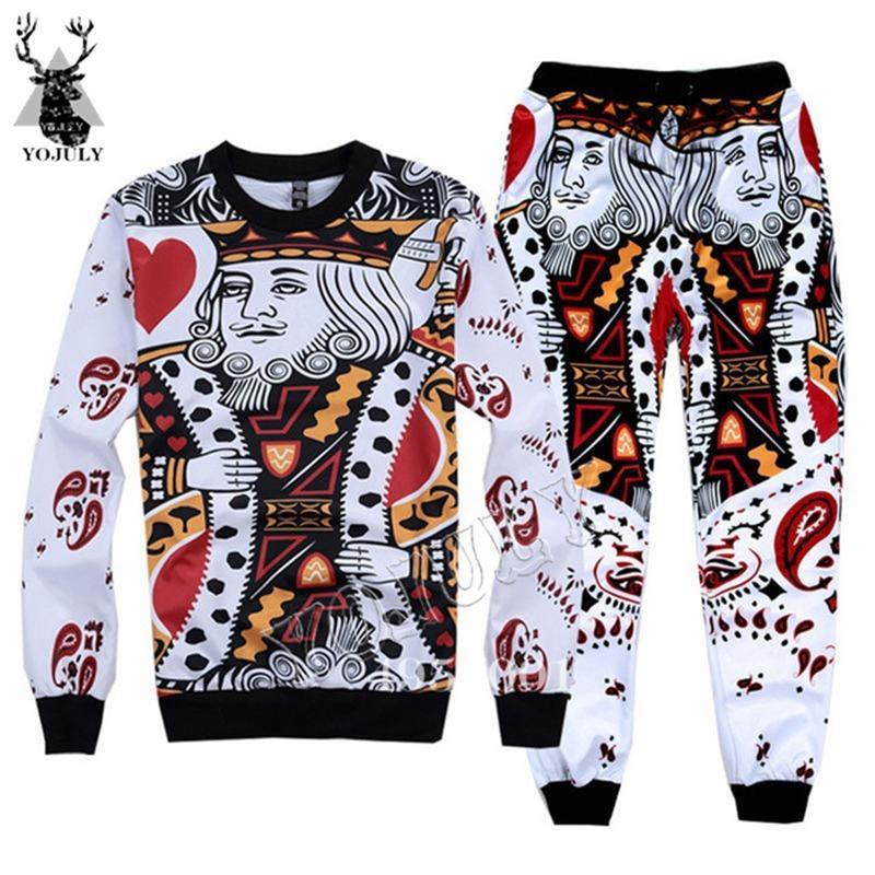 Hombres Moda Casual Ropa Sistema Sudadera + Pantalones de 2 piezas Trajes de póker divertidos Tarjetas de póquer 3D Trajes de impresión 3D Hip Hop Pullover Y644 1021