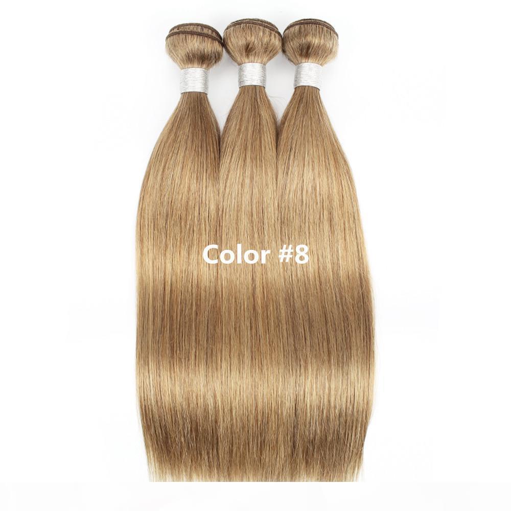 Cor 27 Honey Blonde Brasileiro Cabelo Retato 3 4 Bundles Cabelo Humano Weave Brasileiro Cabelo Virgem Reta Extensões Cor 8, Cor 30