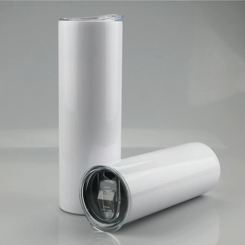 Tazas de acero de sublimación en blanco Tumblers rectos de acero inoxidable 30 oz 20oz Transferencia de paja con y envío Tapa de plástico de plástico Mar en blanco CCA12616 DWPL