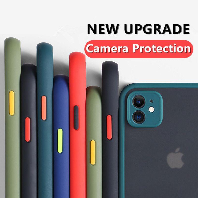 كاميرا حماية عدسة الهاتف القضية لفون 12 برو ماكس 11 12 ميني x XS XR 6 6S 7 8 زائد SE 2020 ماتي شفافة صدمات الغلاف