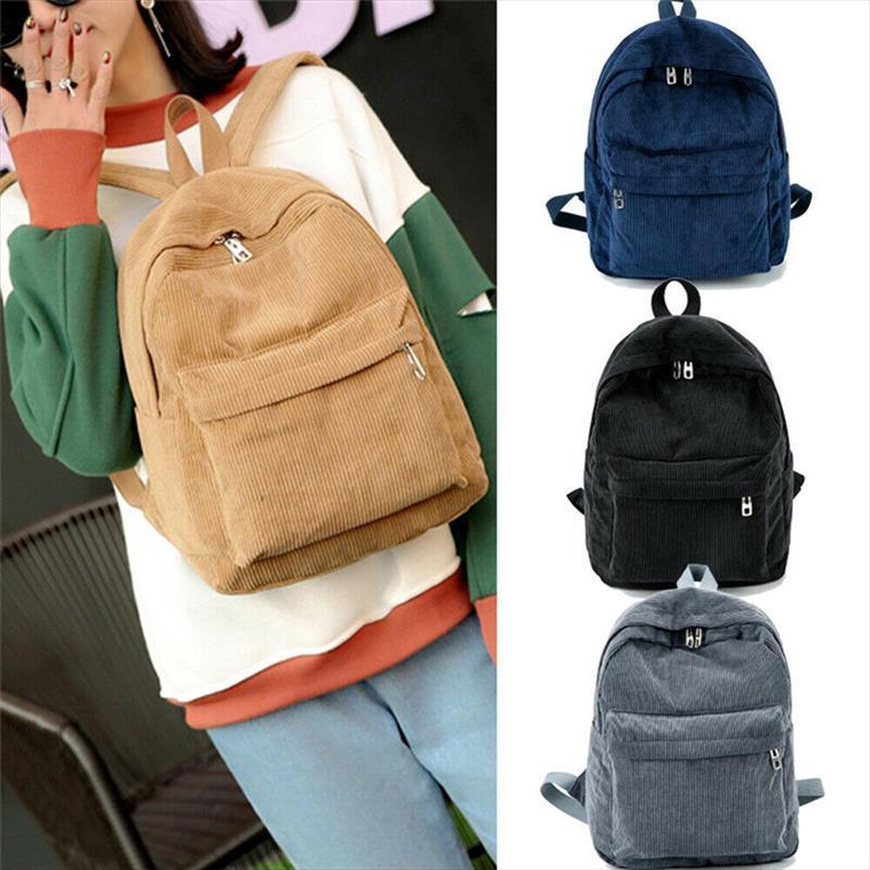 NoEnName Null Bohemia veludo Corduroy Viagem Backpack Mulheres Lady Pure Color viagem Bolsa Escola Colégio Mochila