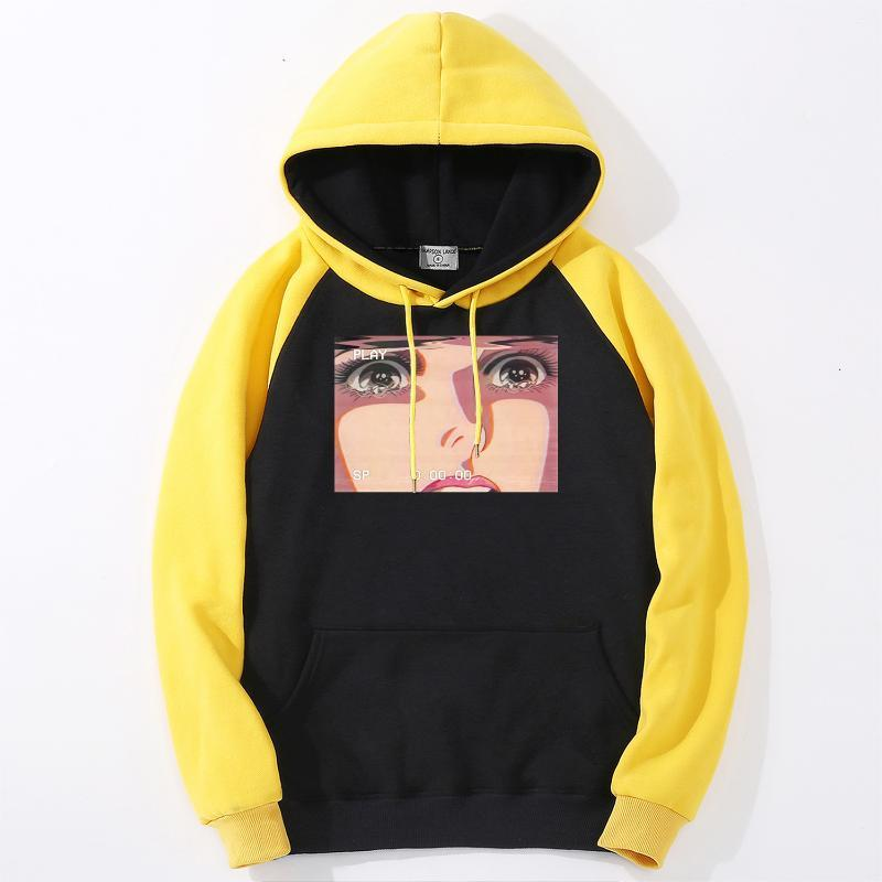 Mens Raglan Pullover Sad Retro Anime Crying Eyes Vaporwave Male Sports Hoodie 2020 New Style Brand Clothes Men Fashion Warm Tops