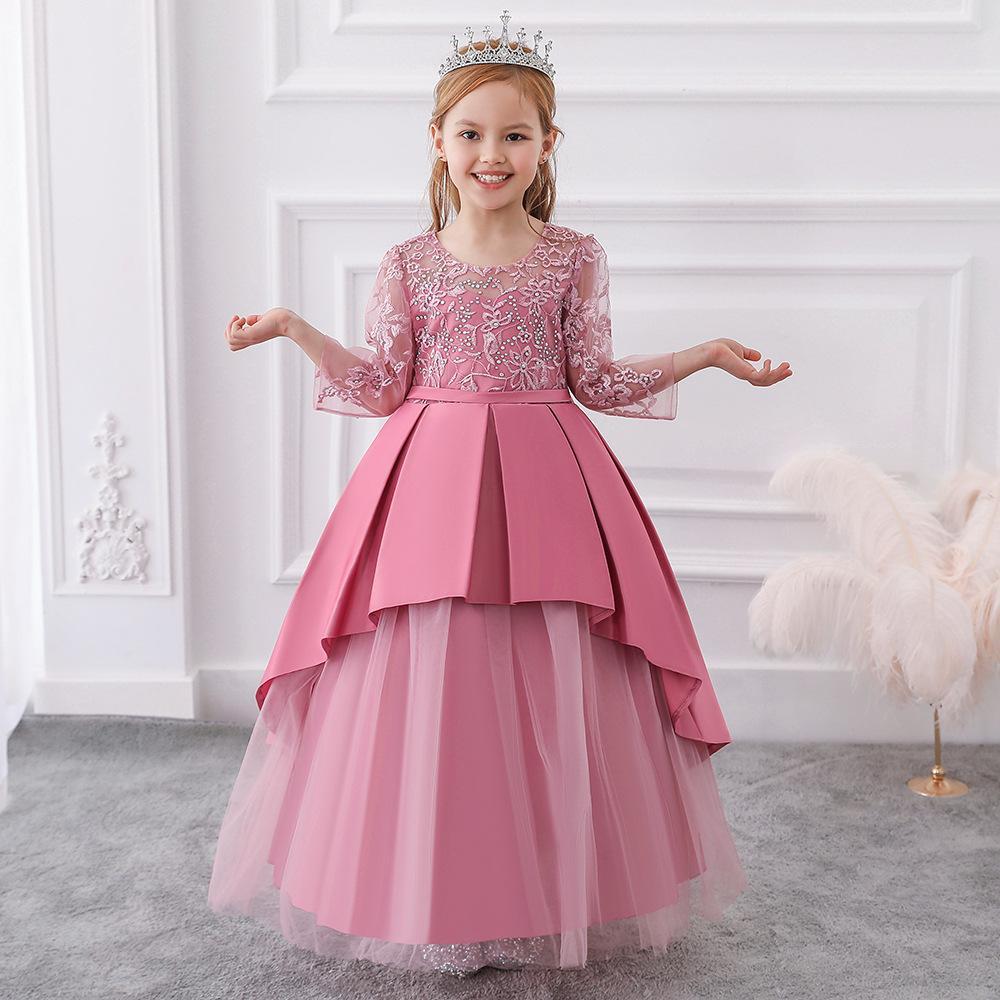 Boda del partido de las muchachas de los niños del desfile de encaje de flores vestido de niña pequeña vestidos largos formales