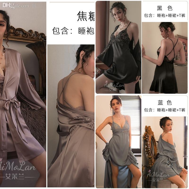 99G0 Albornoz Silk Flower Amantes y Mujeres Algodón Pijamas Plus Tamaño Bathrobes Flow Bathrobes para Pijama Kimono Mujer Tres Quarter Hombres Silidos Hielo AWGT