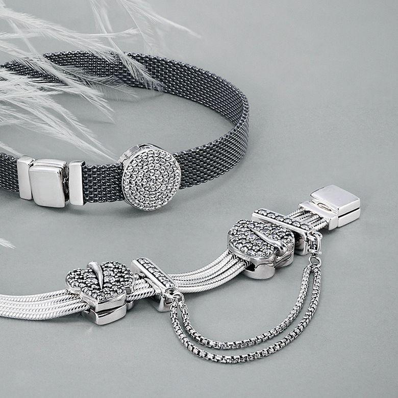 925 Sterling Silver Charm de la cadena de seguridad de la margarita mariposa clips cabida los granos originales Pandora Reflexiones pulsera DIY joyería de las mujeres