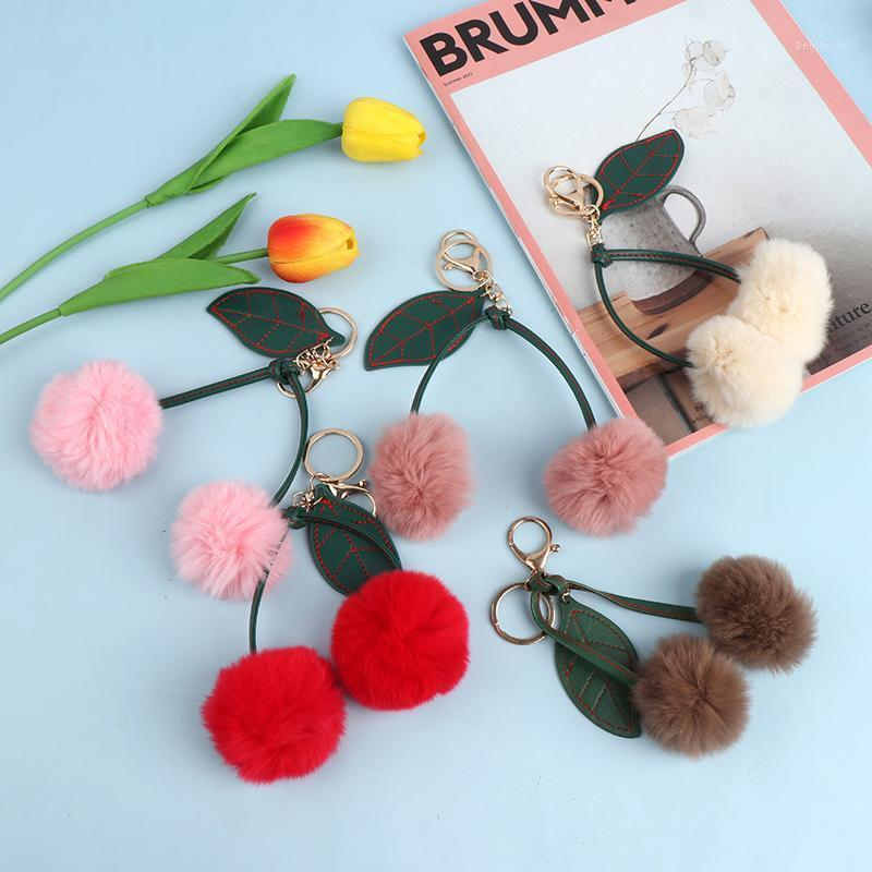 1pc Fluffy Fourrure Artificielle Pompom Feuille Cherry Keychain Sac à main Pendentif Pendentif Car Key Chain1