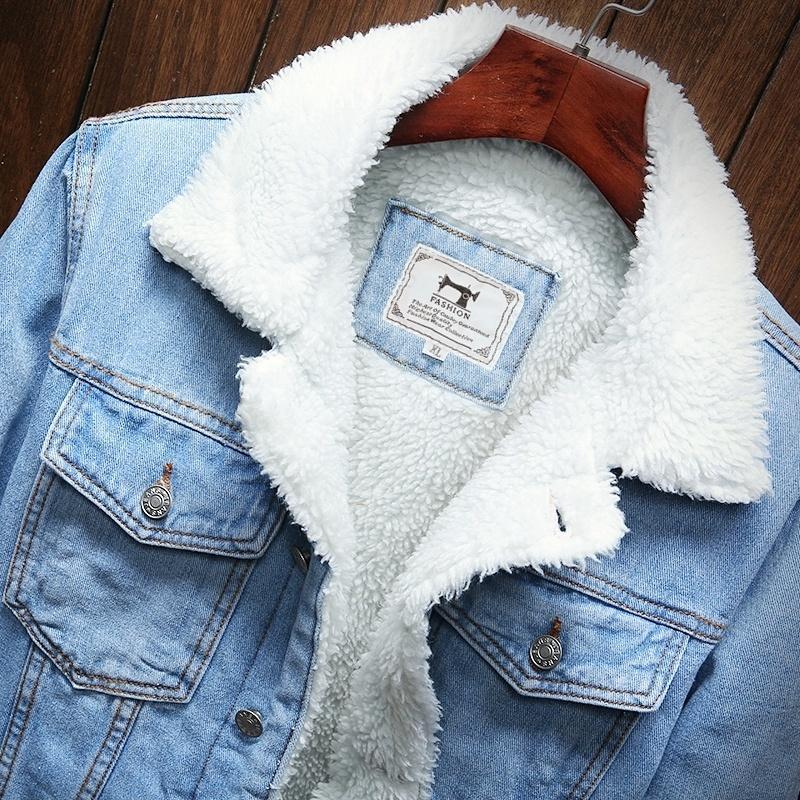 Uomini Light Blue Winter Jean Giacche Capispalla Cappotti caldi Denim Cappotti Nuovi Uomini Liner di grandi dimensioni Liner di lana più spessa Inverno Inverno Giacche Denim Size6XL 201127